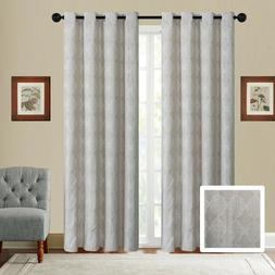 Fancy Linen Embroidery 2 Panel Curtain Set With Grommet Geom