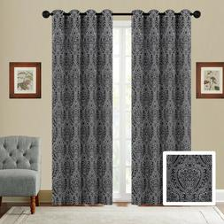 Fancy Linen Embroidery 2 Panel Curtain Set With Grommet Mode