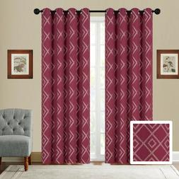 Fancy Linen Embroidery 2 Pc Curtain Set With Grommet Diamond