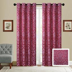 Fancy Linen Embroidery 2Pc Curtain Set With Grommet Geometri