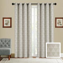 Fancy Linen Embroidery 2Pc Curtain Set With Grommet Triangle