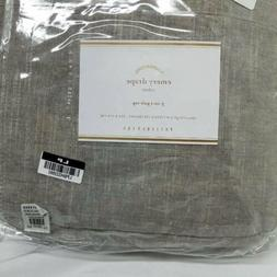 POTTERY BARN EMERY LINEN/COTTON POLE-POCKET CURTAIN GRAY 100