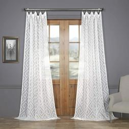 """Exclusive Fabrics Patterned Faux Linen Sheer Curtain  50""""W X"""