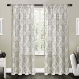 Exclusive Home Nagano Medallion Belgian Linen Curtain Panel