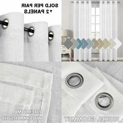 Extra Long Linen Curtains Window Treatments For Living Room/