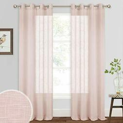 RYB HOME Farmhouse Window Curtains - Linen Sheer Window