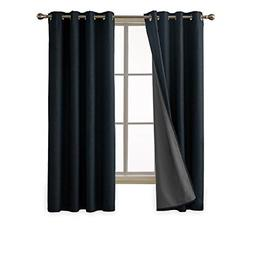 Deconovo Faux Linen 3 Pass Total Blackout Curtains with Grom