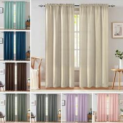 Faux Linen Blackout Curtains for Bedroom Rod Pocket 2 Panels