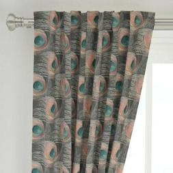 """Feathers Fancy Peacock Coral Blush Teal Bird 50"""" Wide Curtai"""