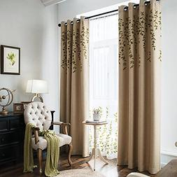 Flower Embroidery Faux Linen Blackout Curtains for Living Ro