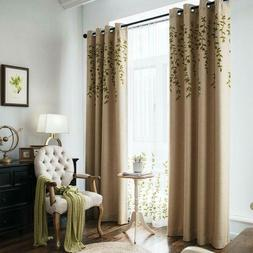 Melodieux Flower Embroidery Faux Linen Blackout Curtains For