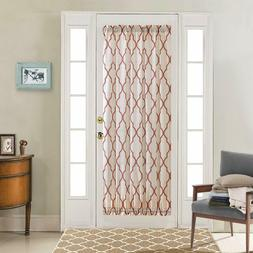French Door Curtain Panel Moroccan Tile Quatrefoil Flax Line