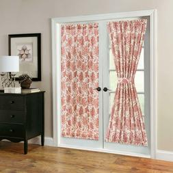 French Door Panel Curtains Paisley Scroll Printed Linen Text