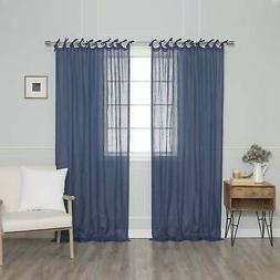 Aurora Home French Linen Tie Top  Single Curtain
