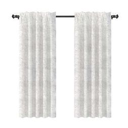 Urbanest French Scripted Linen Curtain Panels, Cream, Unline
