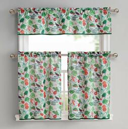 Garden Veggies Printed Kitchen Curtain and Valance Set, Line