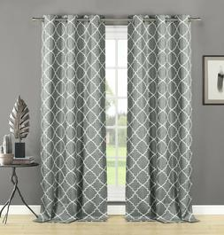 Geometric Grommet Embroidered Textured Window Curtain Panel