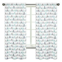 Grey Blue Aqua Turquoise Window Treatment Panel Curtains For