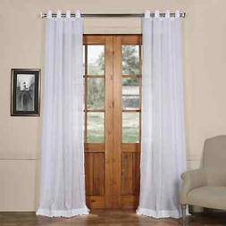 Grommet Faux Linen Sheer Curtain