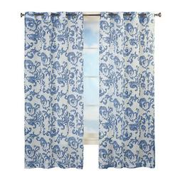 Grommet Top Sheer Curtain Panel with Floral Scroll Linen Pat