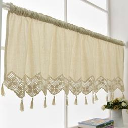 Handmade Kitchen Curtain Cotton Linen Window Curtain Valance