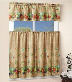 Home 3 Piece Kitchen Curtain Linen Set with 2 Tiers and 1 Ta