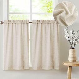 Jin Chan Tier Curtains Linen Textured 2 Panels New 36in. lon
