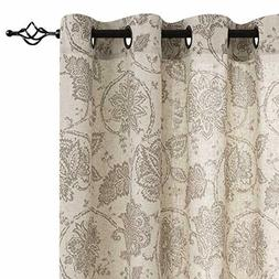 jinchan Floral Scroll Printed Linen Curtains, Grommet Top -