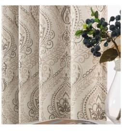 jinchan Medallion Linen Blend Curtains for Living Room 72 In