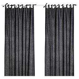 Ikea JOFRID Curtains 2 Panels  with Ties Blue-Gray 100% Line