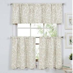 Kitchen Curtains 36L Tiers and Valance Set Serene Leaf Linen