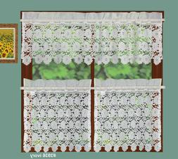 Creative Linens Knitted Lace Sunflower Kitchen Curtain Valan