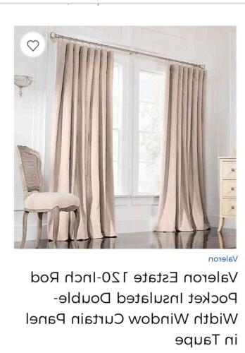 """Valeron 120"""" 108"""" W linen lined 1.5""""rod, taupe"""