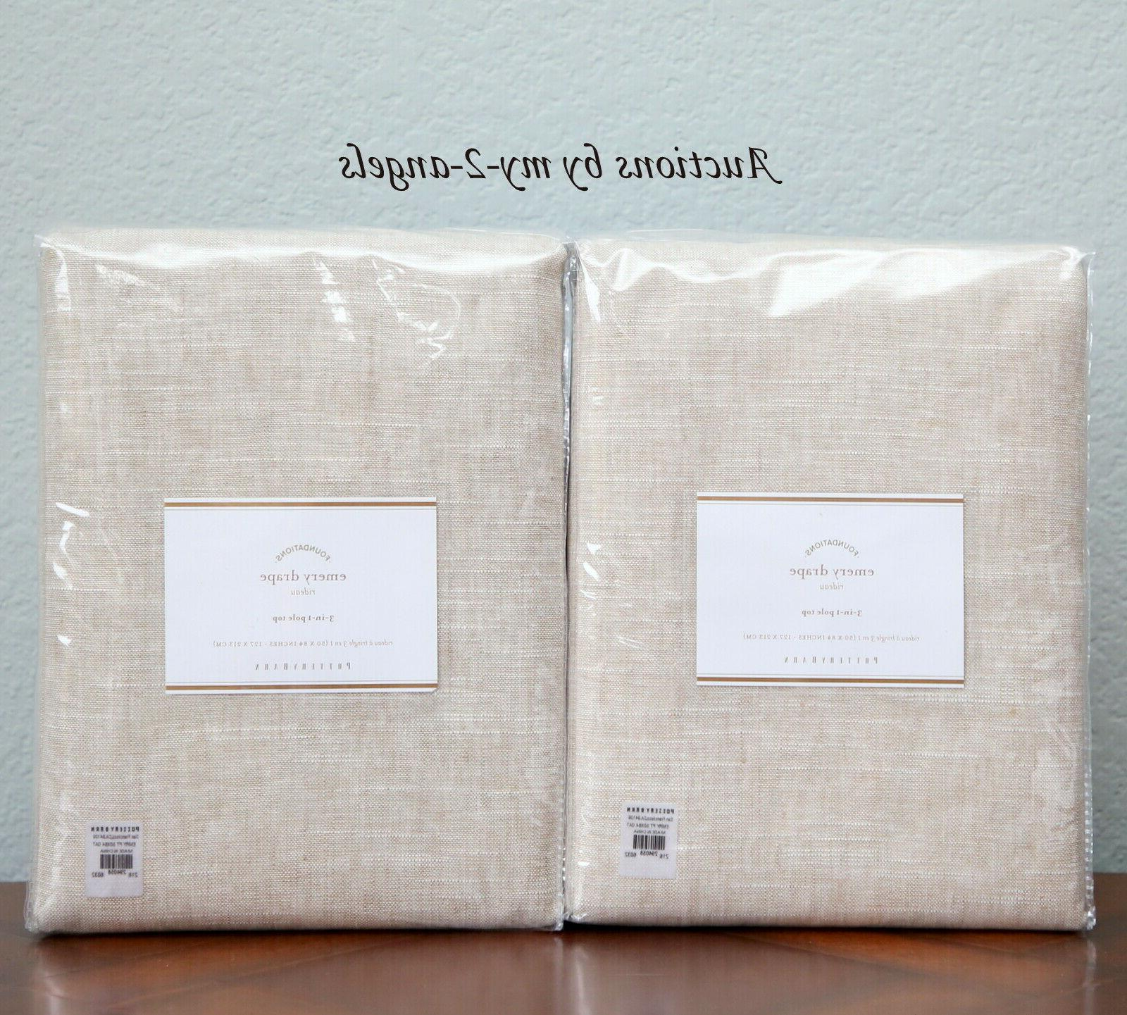 2 new emery linen cotton curtains drapes