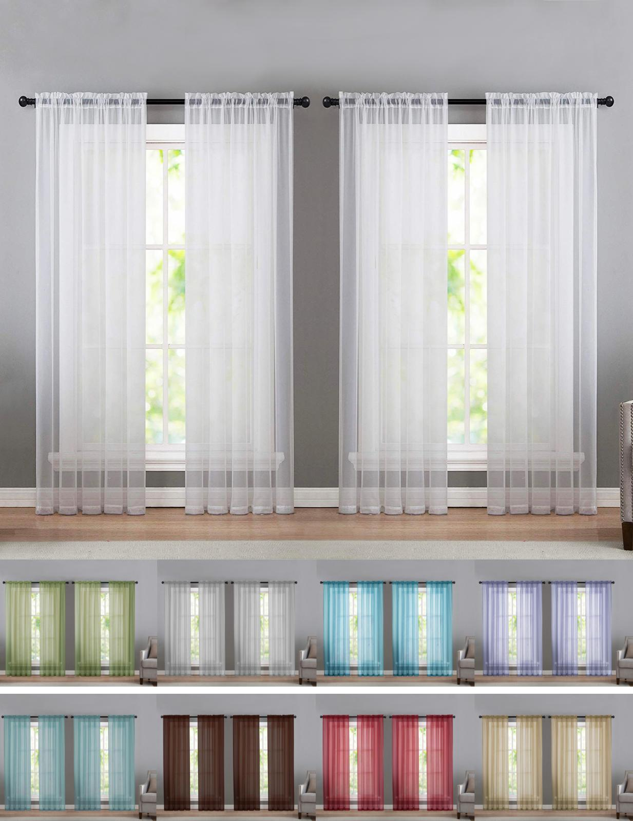 4 pack basic home sheer voile window