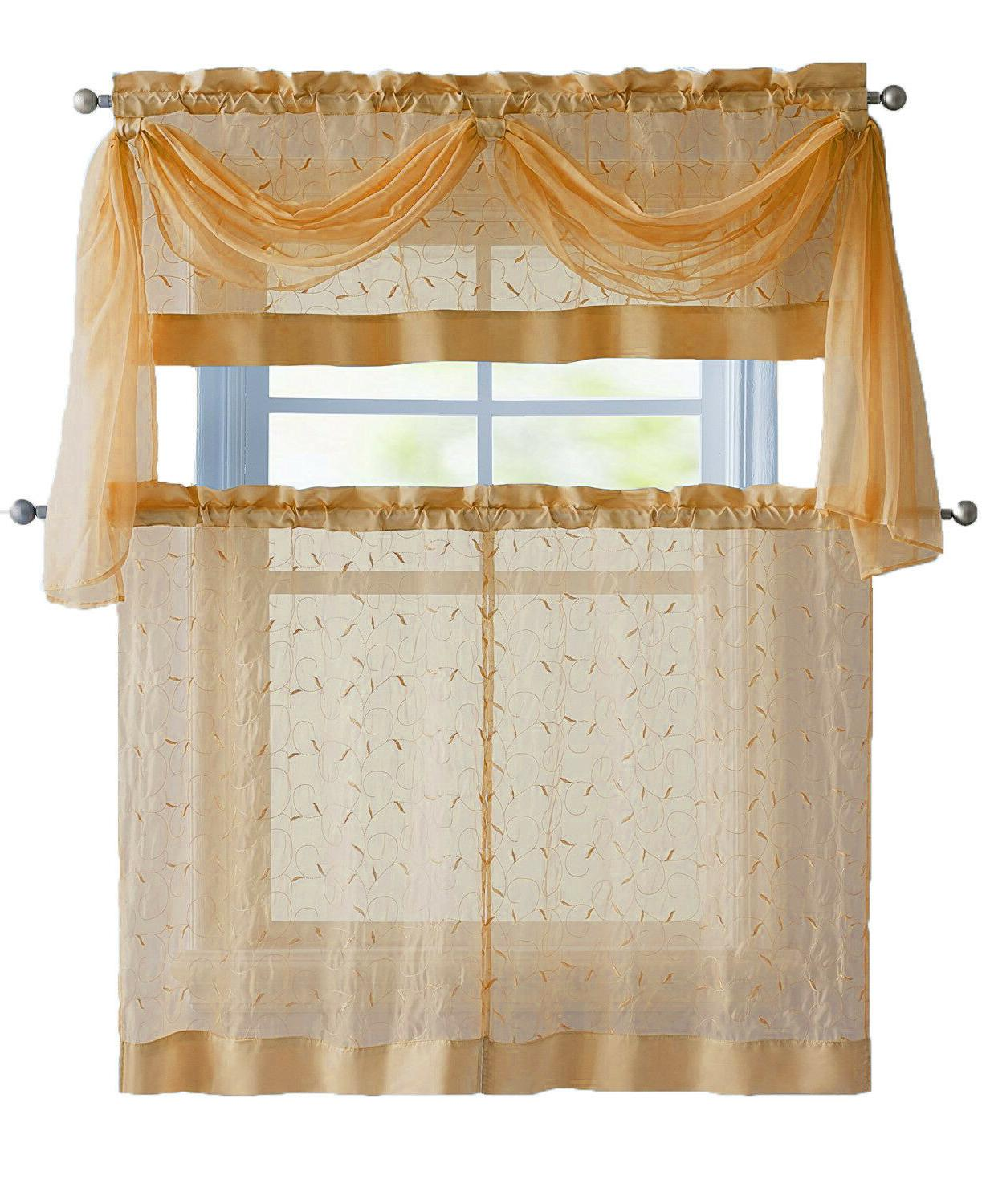 VCNY Home Linen Leaf Embroidered Set Colors