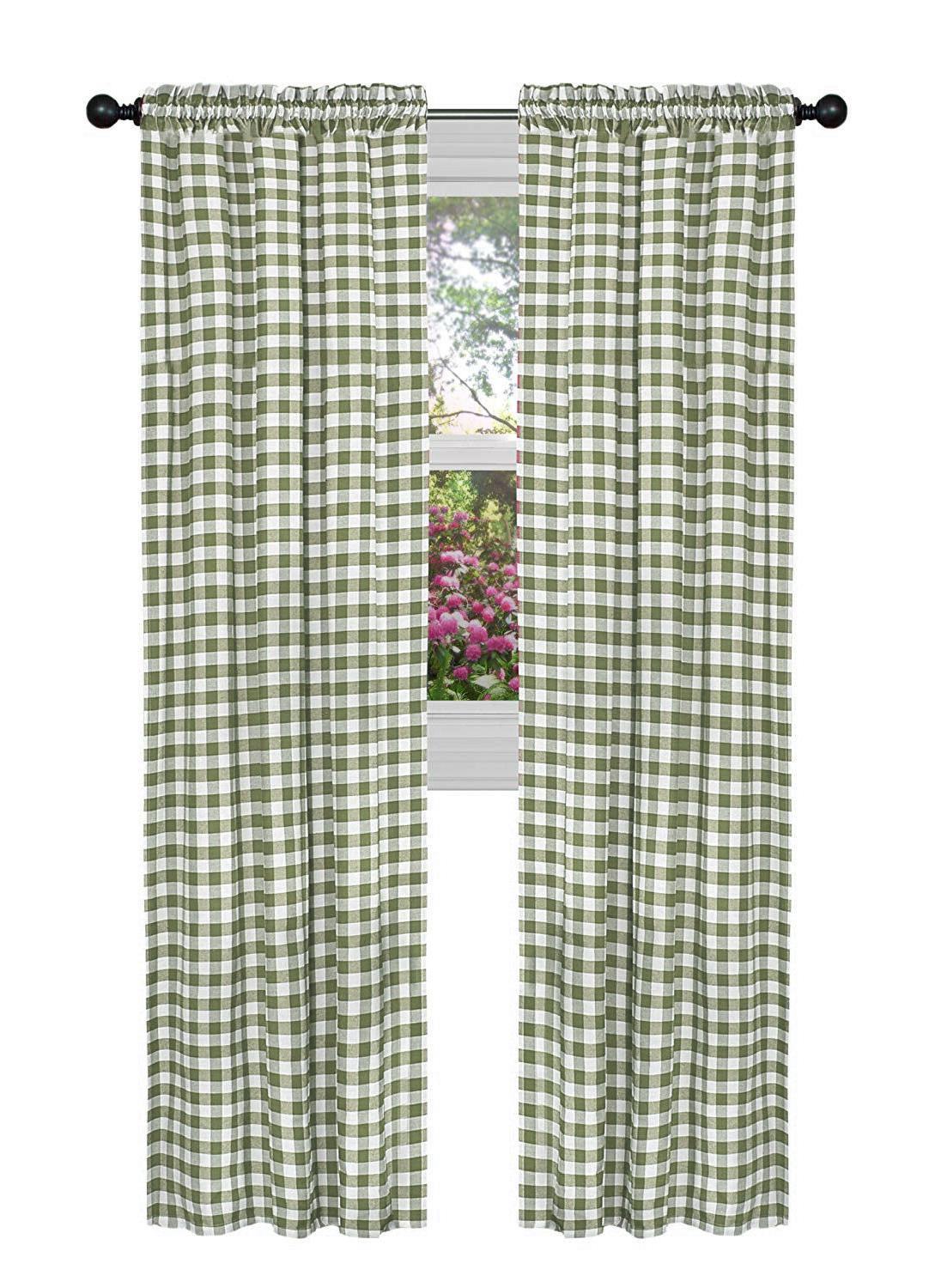 Country Farmhouse Basic Checkered Window Curtains Assorted Sizes