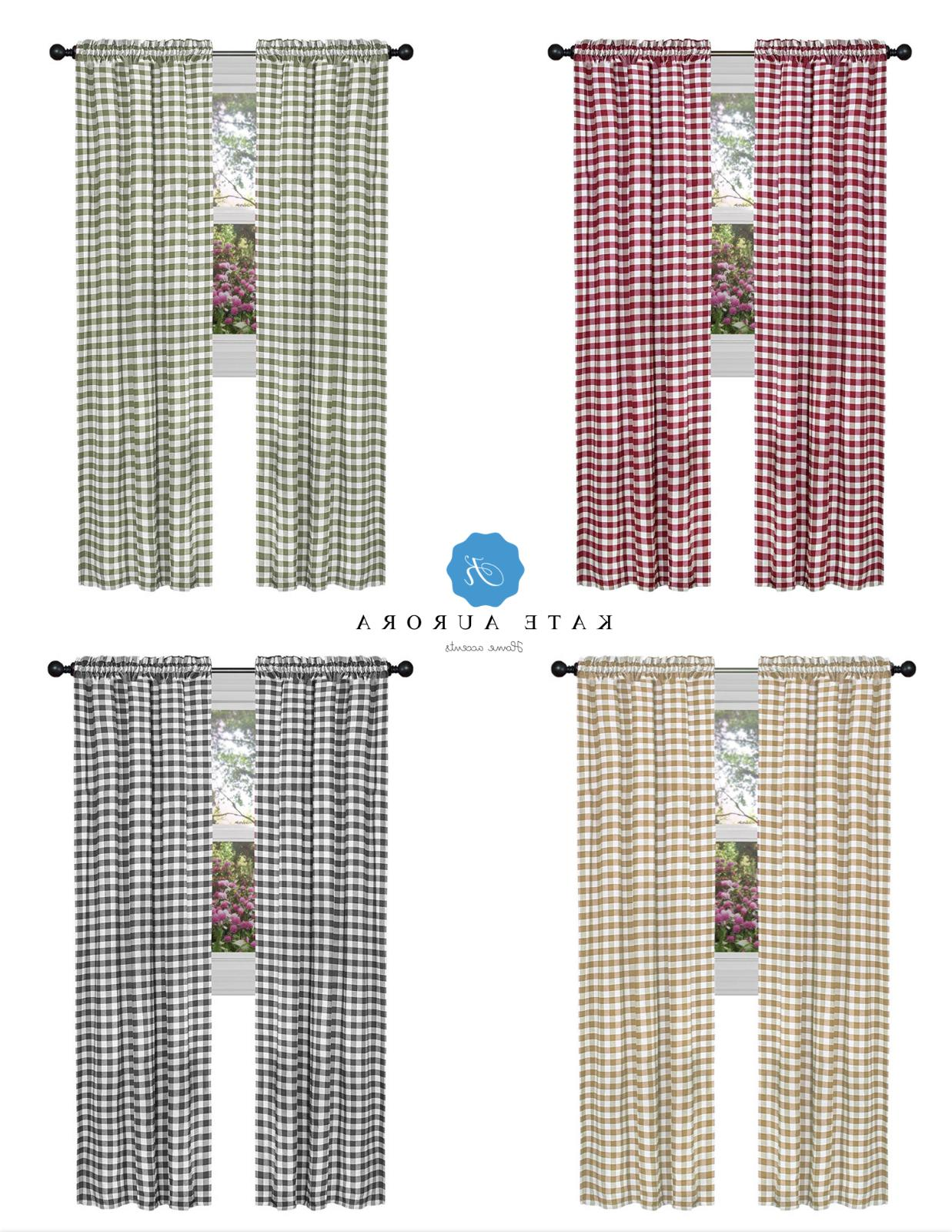 country farmhouse basic plaid checkered window curtains