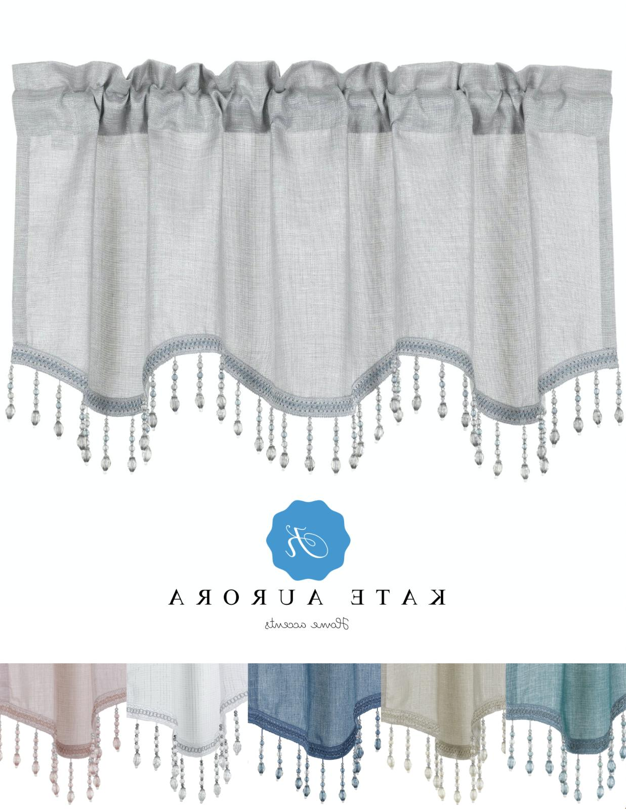 elegant beaded scalloped window valance curtains assorted