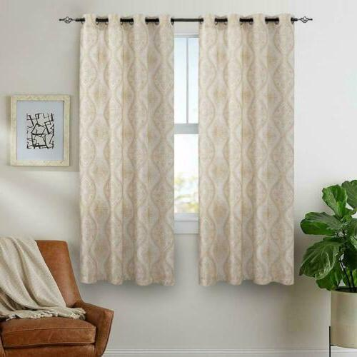 Embroidered Design Curtains Linen Textured for Room 2