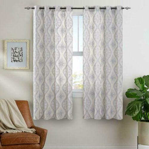 Embroidered Textured Curtains Living Room 2 Panels