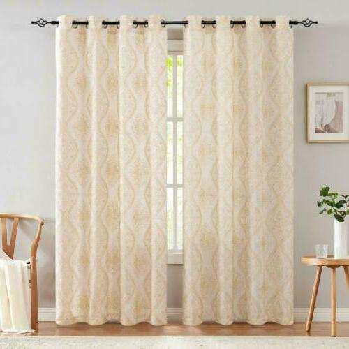 Embroidered Design Textured Curtains Room