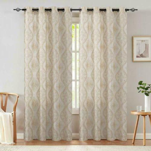 embroidered design curtains linen textured curtains