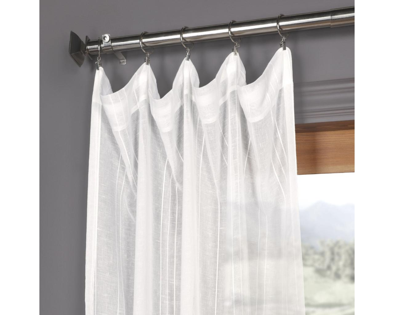 Exclusive Faux Linen Sheer Panel White