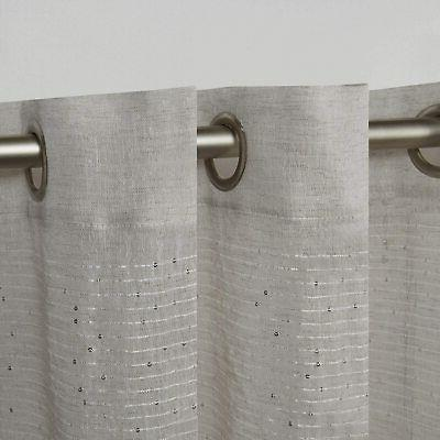 EXCLUSIVE HOME ~Crest Silver Linen Top Curtain Panel Pair~ NEW