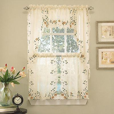 floral embroidered semi kitchen curtain