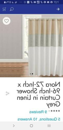 "CARO HOME Shower Curtain-NORA  72""x 96"" extra long, linen gr"