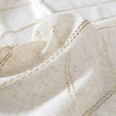 jinchan Linen Textured Curtains for Long Embroidered