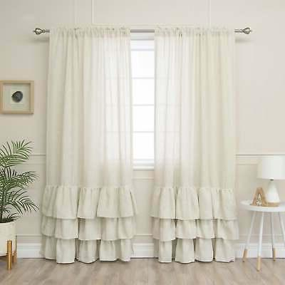 Aurora Home Linen Blend Ruffle Bottom Curtain Panel - 52 x N
