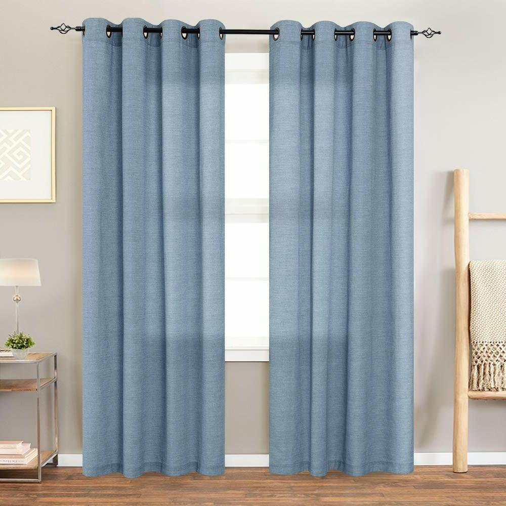 Linen Textured Curtains Living Room Window Panels